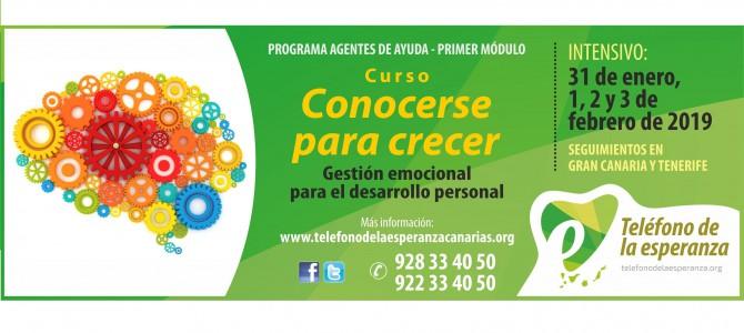 """Curso """"Conocerse para Crecer"""". 1º Módulo Programa Agentes de Ayuda 2019."""