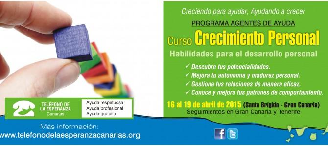 """MATRÍCULA CERRADA – Curso """"Crecimiento Personal"""". 2º Módulo del Programa Agentes de Ayuda 2015."""